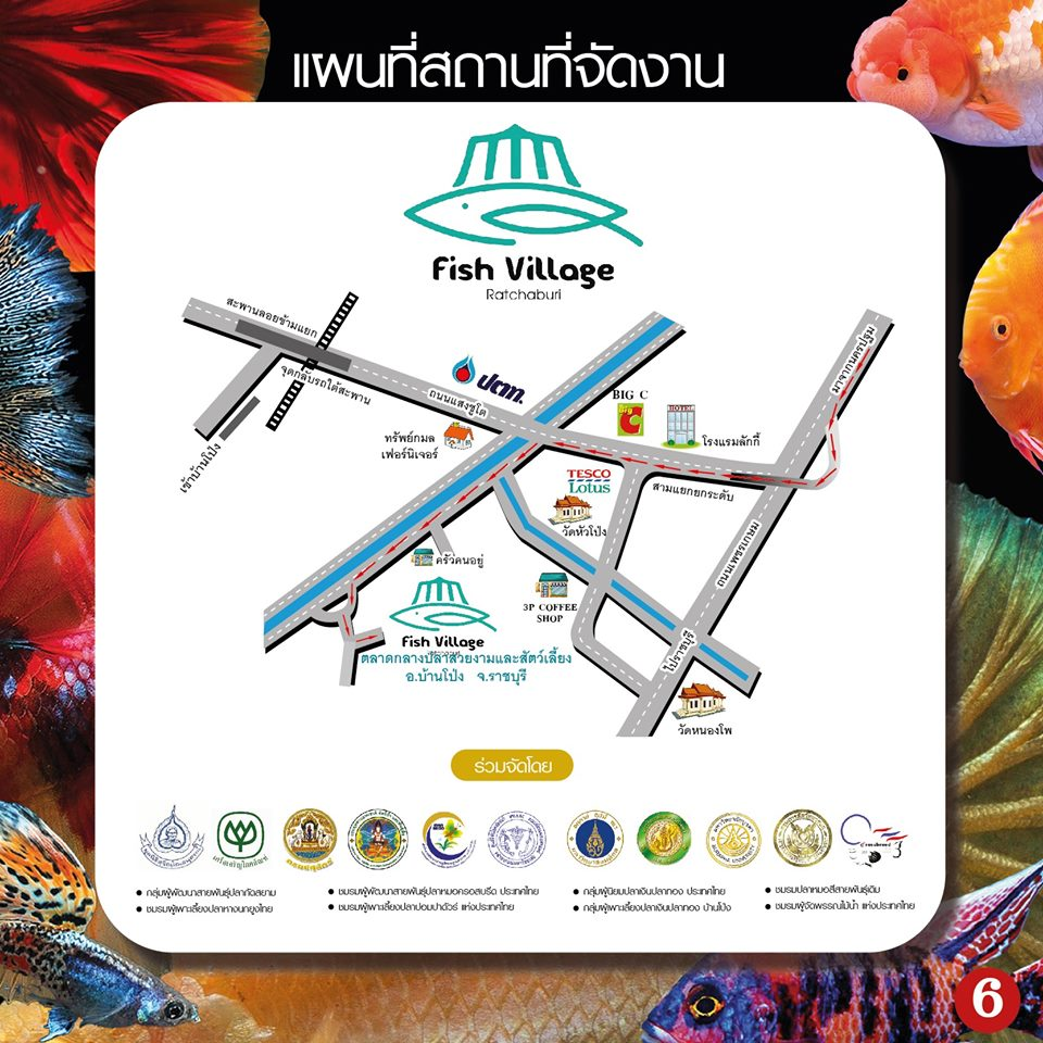 แผนที่ตลาดปลาสวยงาม fish village ratchaburi